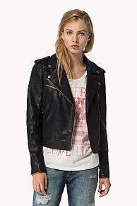 High style biker jacket with brass-coloured hardware accents throughout. Crafted from faux leather with classic biker details: notched lapel, epaulettes, off-centered zip and zip pockets at chest and waist. Figure-following fit that sits on the hips. Fully lined. Hilfiger Denim star charm coat hook at the neck, logo tag on the sleeve.<br/><br/>Our model is 1.76m and is wearing a size S Tommy Hilfiger jacket.