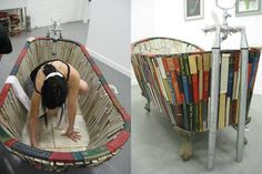 Wow - Check out this functional bathtub made of books