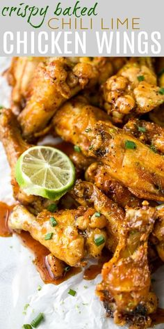 Baked Crispy Chicken Wings with a sticky sweet n spicy chili lime sauce that you. , Baked Crispy Chicken Wings with a sticky sweet n spicy chili lime sauce that youll swoon over. These chicken wings are the perfect appetizer for your . Best Chicken Recipes, Spicy Recipes, Cooking Recipes, Healthy Recipes, Lime Recipes, Cooking Bacon, Chili Recipes, Healthy Chicken, Drink Recipes
