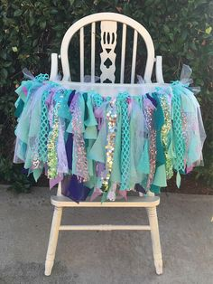 Outdoor Chair Lounge - Adirondack Chair DIY - Wooden Chair And Table - - Oak Chair Makeover - Mermaid Theme Birthday, Baby Girl 1st Birthday, One Year Birthday, 1st Birthday Parties, Birthday Ideas, Birthday Highchair, Mermaid Party Decorations, Little Mermaid Parties, High Chair Banner