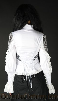 White Brocade Blouse - Blouse and Tops - Ladies Clothing