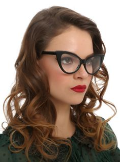 aad302abbb Shiny black cateye glasses frames with clear lenses. Four Eyes