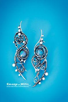 Valar - Sterling silver 925 australian opal elfin stud earrings - wire wrap elf woman gift sharp jewelry