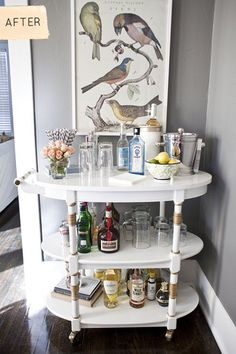 Despite the New York Times' claim that bar carts are purely a piece of hipster furniture du jour, I think they're classic. Whether you're a nightly cocktail drinker or just want to be able to entertain when others come over, a good bar cart is equal parts form and function. And for some reason, they seem to be so easy to find in thrift stores these days.