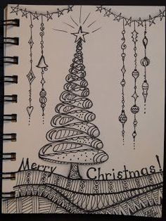 Trish's Artistic Adventures: Zentangle Inspired Art – Christmas Tree Zentangle Drawings, Doodles Zentangles, Zentangle Patterns, Doodle Drawings, Tangle Doodle, Zen Doodle, Doodle Art, Christmas Doodles, Christmas Art