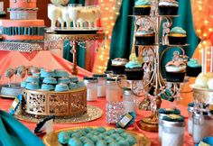 Teal and Coral Theme Dessert Table www.nBluf.com