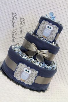 Blue Owl Baby Diaper Cake Shower Gift or Centerpiece by Dianna's Diaper Cakes