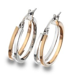 9ct 2 colour Gold Creole Earrings