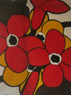 1960s Finland Fabric Vallila Howard Smith Flower