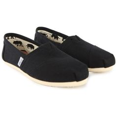 Toms Womens Classic Black Canvas Espadrilles ($45) ❤ liked on Polyvore
