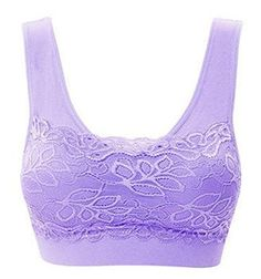 3efd421473ed3 YUNY Womens High Impact Lace Spliced Padded Seamless Yoga Gym Bra Purple  Small    Visit