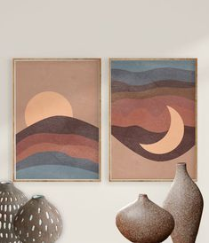 Sun and Moon Print Set of 2 Brown Blue Abstract Landscape Blue Abstract, Abstract Wall Art, Abstract Landscape, Moon Print, Mid Century Modern Art, Nursery Wall Art, Moon Nursery, Nursery Ideas, Painting Inspiration