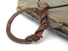 handcrafted wireweave pendant with beads wreath by KarenJJewellery