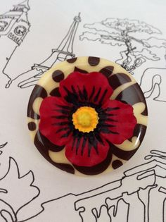 Bold Button Ring  Red Beige and Brown  Summer Poppy by rubyluby, $8.50