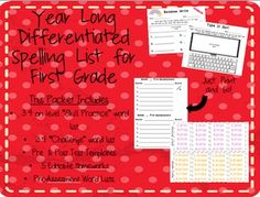 Differentiated Year Long Spelling Unit for grade. Perfect way to meet all of your students needs! Spelling Homework, Homework Sheet, Spelling Lists, List Challenges, Common Core Standards, Differentiation, Teacher Newsletter, First Grade, Teacher Pay Teachers
