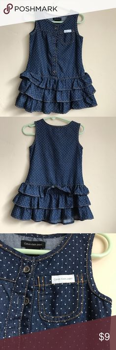 Calvin Klein Toddler Dress Soft denim like fabric size 3T. Never worn. Can button and unbutton for easy wear. Calvin Klein Dresses Casual