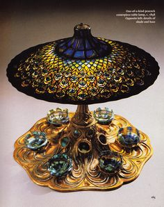Tiffany Peacock centerpiece table lamp ca 1898 | JV