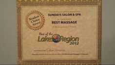 Best Massage Award. Best of the Lakes Region 2012.