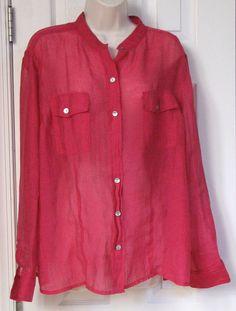 Chico's Pink Sheer Long Sleeve Button Shirt L 3 16 Rayon Blend Women's #Chicos #ButtonDownShirt