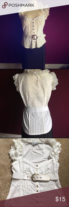 Bebe White Button Down Blouse M Comes with belt. Only flaw is that there is minor discoloration on the end of the belt(see pic). bebe Tops Button Down Shirts