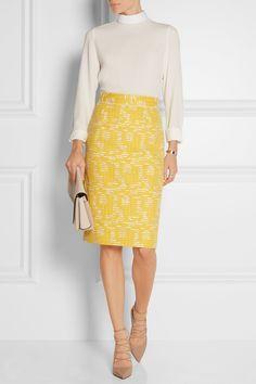 Oscar de la Renta   Cotton-blend tweed pencil skirt   NET-A-PORTER.COM