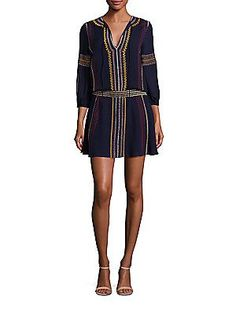 Might make me look boxy. Alice and Olivia Jolene Embroidered Drop-Waist Dress