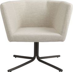 give it a whirl.  Multifaceted swivel by Manuel Saez puts a new 360 spin on the midcentury aesthetic.  Geometric planes angle a sheltering profile in natural linen-y poly-weave, finished with a fashion-forward hidden zipper in the back.  Poised to turn with the conversation on iron tube pedestal base that takes a smart stance in lacquered matte grey.  Learn more about the designer, Manuel Saez, on our blog.