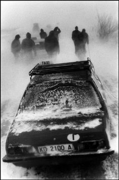 by Josef Koudelka:  Snow blizzard on the road to Korçë, Albania, 1994.