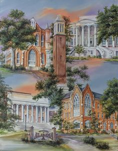 Anni Moller Prints & Original Paintings - University of Alabama Montage  Original Painting Available, email for more info rick@thegallery.us