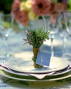 At a bridesmaid luncheon or rehearsal dinner, set one of these bundled herb place cards on each plate. Diy Wedding Stationery, Bridesmaid Luncheon, Bridal Luncheon, Do It Yourself Wedding, Small Bouquet, Beautiful Table Settings, Martha Stewart Weddings, Wedding Table, Wedding Ideas