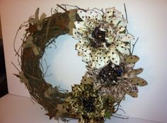 Wreath, burlap and stars, shabby chic, country on Etsy, $45.00