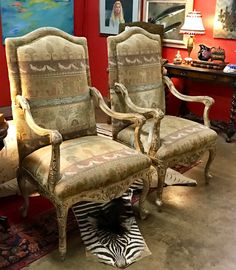Pair of Modern Leather and Metal Side Chairs 29\