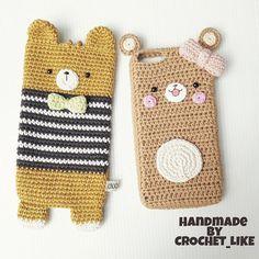 crochet like ( Kawaii Crochet, Love Crochet, Diy Crochet, Crochet Toys, Crochet Phone Cover, Crochet Pouch, Crochet Gifts, Crochet Handbags, Crochet Purses