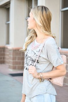 Grey Let's Take A Road Trip Graphic Top - My Sisters Closet