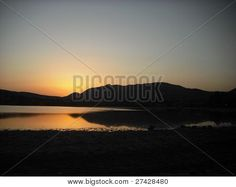 Photo : View of the sea and its reflections at sunset in Sardinia Sunset Images, My Photos, Stock Photos, Sardinia, Reflection, River, Sea, Landscape, Outdoor