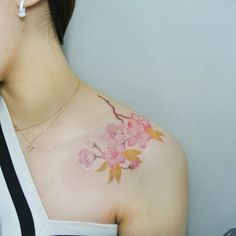 60 Cherry Blossom Tattoos ❖❖❖ ❖❖❖ Cherry Blossom Tattoos : of Asian origin, the cherry blossom enchants with its poetic beauty both by its delicate petals in shades of pink as well as . Hand Tattoo Images, Hand Tattoos, Tatoos, Cherry Blossom Tattoo Meaning, Medium Size Tattoos, Cherry Tattoos, Japanese Cherry Tree, Color Contour, Spiritual Images