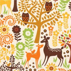 cream forest animal fabric deer owl Timeless Treasures USA