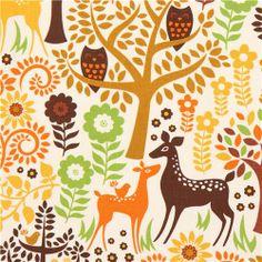 cream forest animal fabric deer owl Timeless Treasures USA
