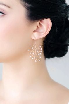 Blush Pink and Gold Delicate Branch Earrings