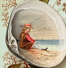 This is a Marvelous Vintage Clam Shell Scene Image!Featured above is a lovely Seashell with a painted scene of a little Girl playing at the Ocean. The shell is surrounded by some sprigs of Seaweed and Kelp. Such a fun whimsical Image for your Summer Craft or Collage Projects! Hello! Are you new to The...Read More »