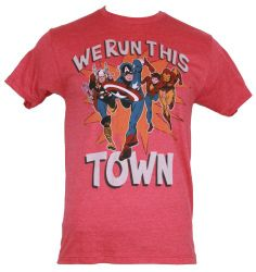 """The Avengers (Hulk, Captain Amercia, Thor, Iron Man by Marvel Comics) Mens T-Shirt - """"We Run This Town"""" Classic Avengers With Bucky http://www.amazon.com/dp/B00916X7KE/ref=cm_sw_r_pi_dp_fq9ftb1W2SJ3MHWY"""