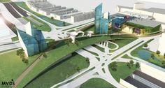 architecture, urbanisme, landscape, green, nature, crossway, seperate traffic, design, concept, diagram