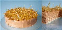 Dobosh Torte - Layers of thin vanilla cake with smooth chocolate buttercream