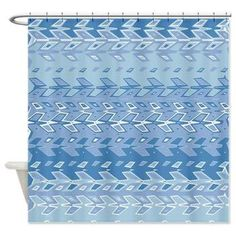 Blue Pattern Shower Curtain Abstract test by ArtfullyFeathered