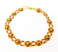 Gold Right Angle Weave Bracelet by kiddercreations on Etsy, $10.00