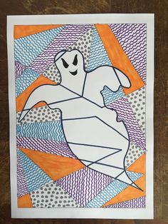 Playing with pattern and shape - Halloween ghoul activity template for kids