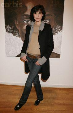 jeans, tan top and slim coat...