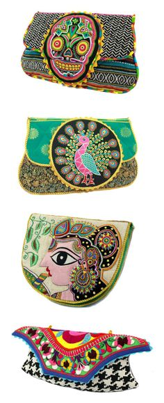 funky colourful clutches with designs of Krishna, peacock, Day of the Dead