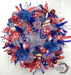 diy wreaths with deco mesh and ribbon | Deco Mesh Summer Patriotic Wreath Red White Blue Stripe July 4th ...