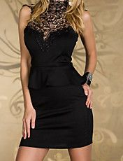 Cheap Rare Embroidered High Neck Peplum Dress Black online - All Products,Fashion Dresses,Peplum dresses Cheap Dresses, Casual Dresses, Fashion Dresses, Office Dresses, Stylish Dresses, Formal Dresses, Lace Ruffle, Lace Dress, Peplum Dresses